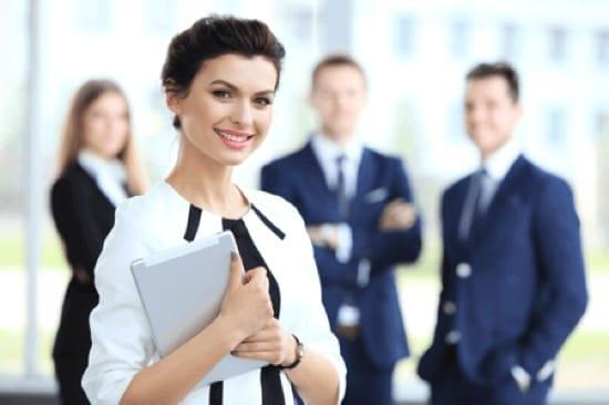 sales team sharing knowledge with online platform