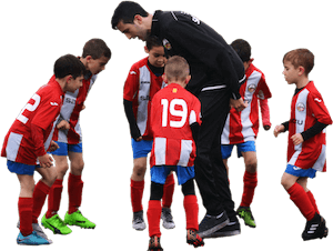 Kids soccer team with coach cut out