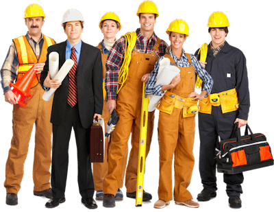 Construction workers cut out