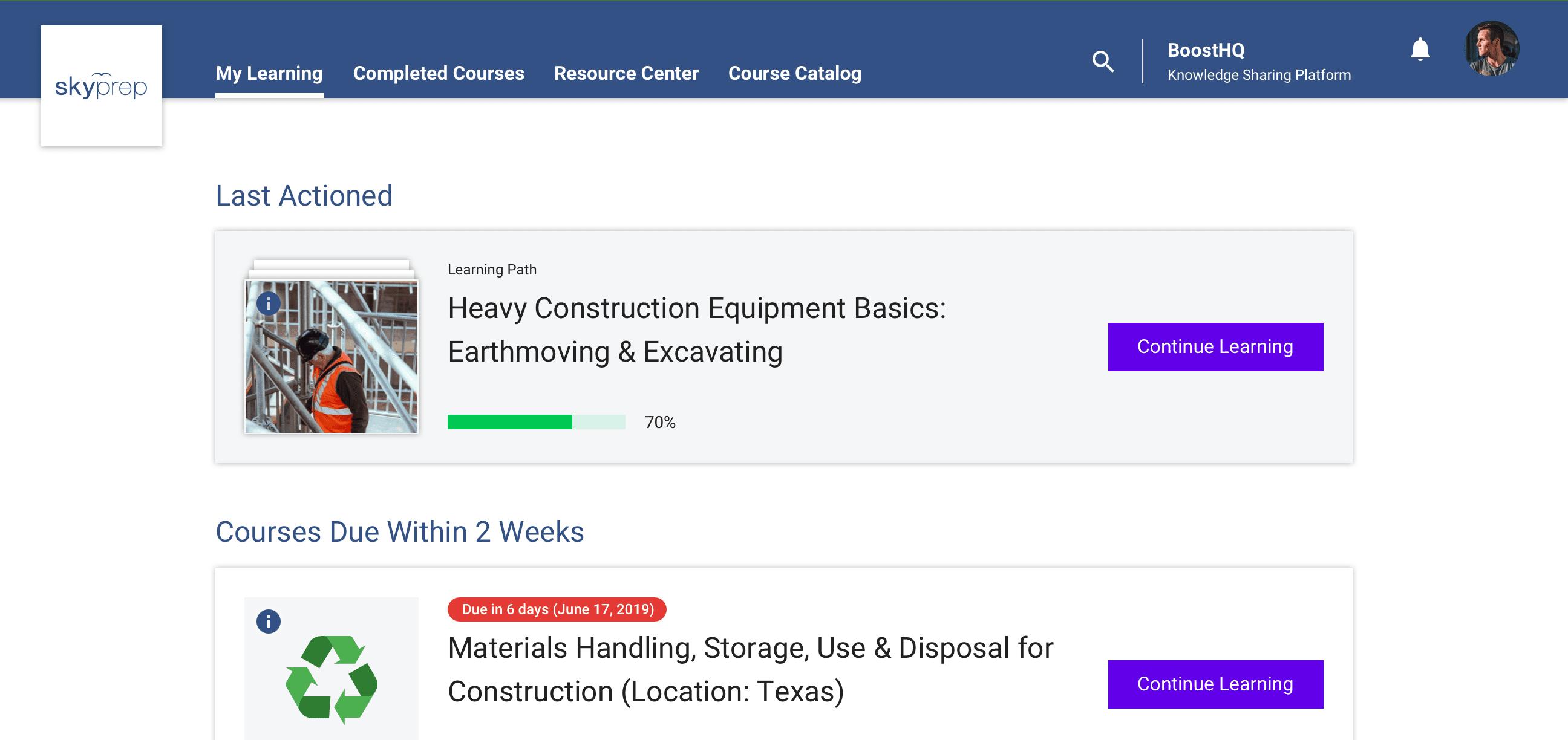 learner interface screnshot