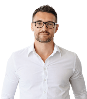 SkyPrep client headshot male with white dress shirt and glasses