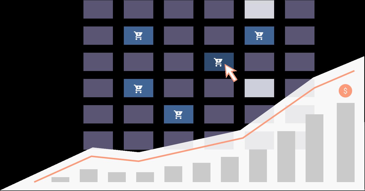 Course selling hero image, upwards bar chart