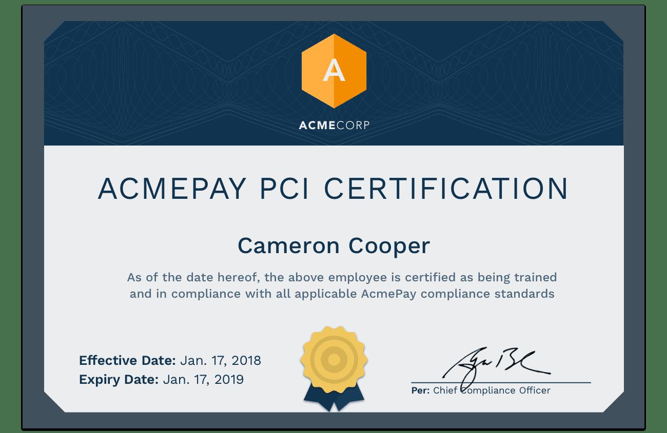 Custom certifications