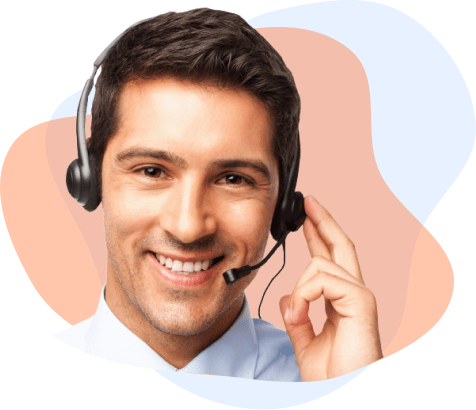male support worker with headset on, with blob frames behind