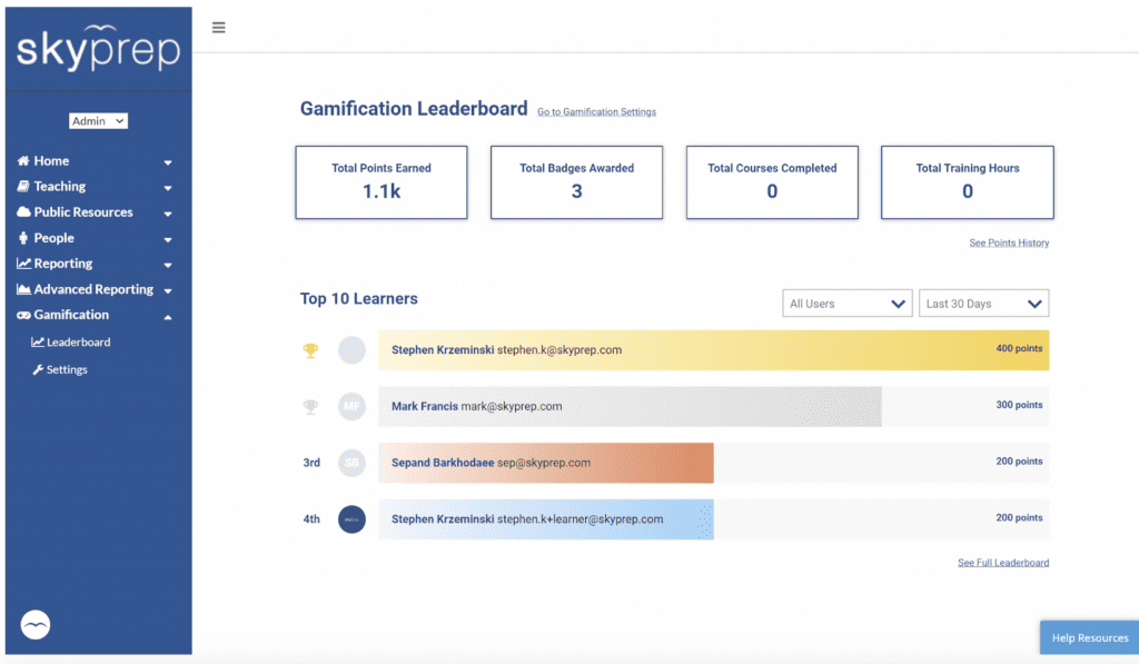 leaderboard for LMS gamification